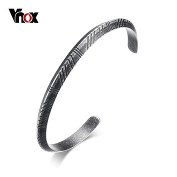 Vnox Men's Viking Cuff Bracelet Bangle Retro Silver Tone Stainless Steel Pulseira Female Male Street Ceremony Unisex Jewelry