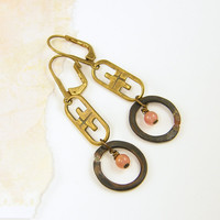 Brass Dangle Earrings - Pink Gemstone Bead Earrings Dusty Rose Brass Drop Jewelry