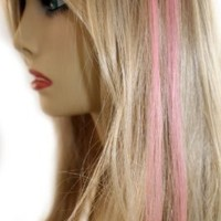 "18"" Light Pink/Blonde Blend Micro Loop Ring Human Hair Extensions 10 Strands"