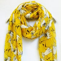 Yellow White Dogs Spring Summer / Autumn Scarf