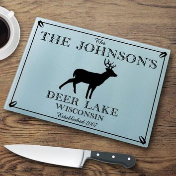 """Personalized """"Cabin"""" Series Glass Cutting Boards"""