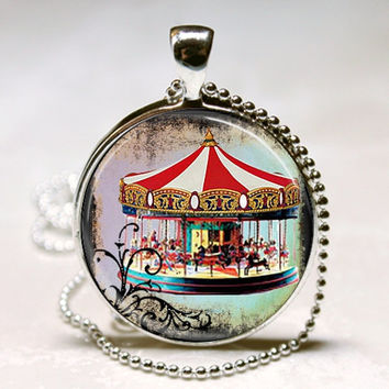Merry Go Round Necklace, Carousel Jewelry, Carousel Horse, Circus, Carnival Art Pendant with Ball Chain Included