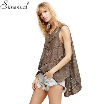 DCK9M2 Irregular knitted women tank sleeveless summer tops 2016 fashion new slim hollow out sexy hot long cover up solid ladies tanks