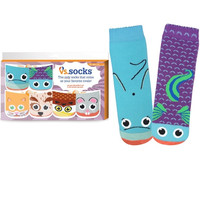 Girls Socks Pack of Three: Cat vs. Dog, Dolphin vs. Fish, Owl vs. Mouse