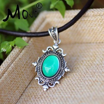 Vintage Design In Real Antique Plating Mood Pendant Calf Leather Rope Mood Color Changing Necklace  Silver MJ-SNK001