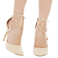 Pointed Toe Criss Cross Ankle Tie Strap Nude Pumps