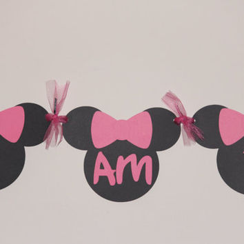 Minnie Mouse Banner, I am 1 banner, minnie mouse, party decorations, highchair banner, cake table banner, first birthday banner, photo prop