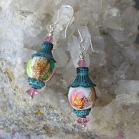 """My Secret Garden"" Artisan Vintage Foil Art Glass Bead & Swarovski Crystal Sterling Silver Earrings, ""Magic Lanterns"" #122"