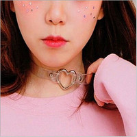 CM697 Fashion punk Jewelry sweet heart Necklace, Clear Transparent PU Leather Choker Punk Goth 100% Handmade Collar Necklace