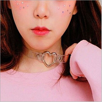 Fashion punk Jewelry sweet heart Necklace, Clear Transparent PU Leather Choker Punk Goth 100% Handmade Collar Necklace