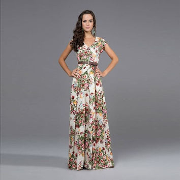 Summer women print loose-fitting short-sleeved chiffon straight long beach maxi dress = 1782942980