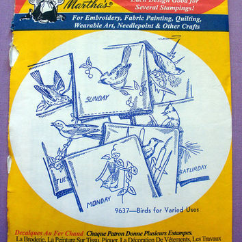 "Aunt Martha's ""Birds for Varied Uses"" Hot Iron Transfer Pattern 9637 for Embroidery, Fabric Painting, Needle Crafts"