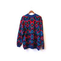 Vintage 80s Oversize Knit GEOMETRIC Abstract Cosby Kid Sweater s m