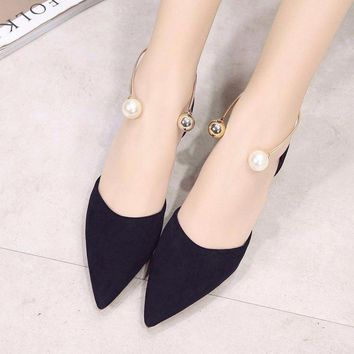 Pearl Dressy Finish Slip On Ankle Buckle Flat Shoes