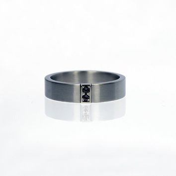 Black diamond wedding band, titanium wedding ring, men's titanium band, white gold, unique, men black diamond ring, modern, gothic, wide