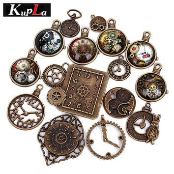 Vintage Charms Metal Mixed Clock Charms for Jewelry Making DIY Handmade Decorative Clock Pendant Charms 15pcs/lot C5500