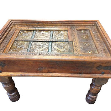 Antique Coffee Tabel Furniture Handmade Wood Carving - Mughal indian Style Table vintage patinas