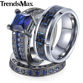 Lover Gifts Couple Wedding Band Ring Set for Women/Men Paved Blue Cubic Zirconia CZ Gold Filled Blue Tungsten Size 6-13 GR30
