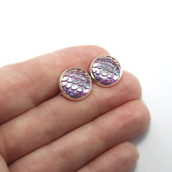 NEW - Mermaid Scale Purple Iridescent Earrings - Posts/Studs 12mm LARGE