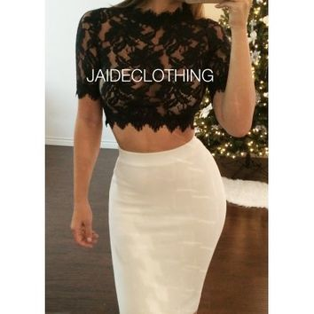 Black MONA Lace Crop Top - Jaide Clothing