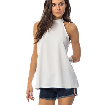 White High Neck Flare Swing Top