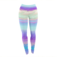 "Nina May ""Drip Dye Cool"" Pastel Blue Yoga Leggings"