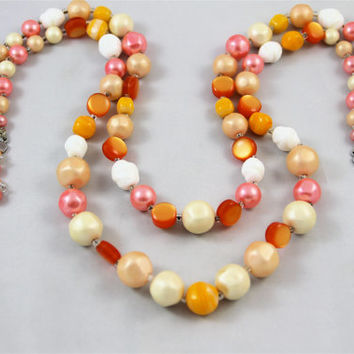 Vintage multistrand necklace peach orange pink white glass beads plastic pearls moonglow chunky signed Japan excellent 50's never worn retro