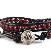 Wrap Bracelet, Red and Black Bracelet, Beaded Wrap Bracelet