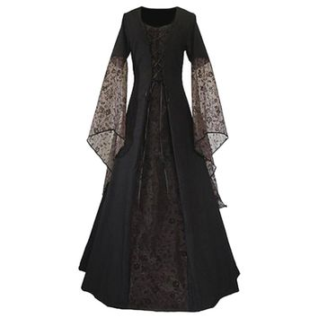 Women Lace Up Vintage Long Dress Renaissance Women's Costume Medieval Maiden Fancy Cosplay Halloween costumes Victorian Dress
