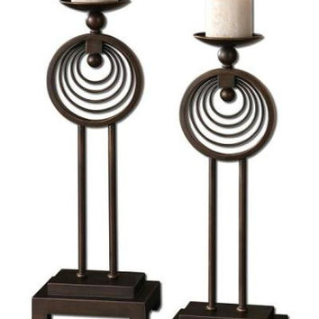 2 Candle Holders - Oil Rubbed Bronze Finish
