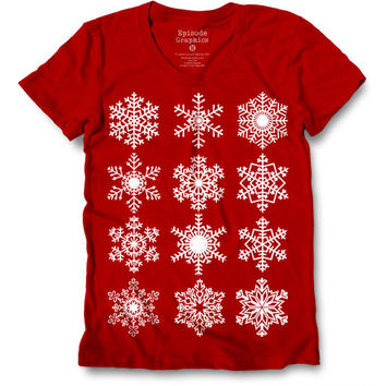 Snowflake Graphic American Apparel Round neck Women's  T-Shirt.