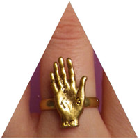 Gold Oracle Palm Reader ring