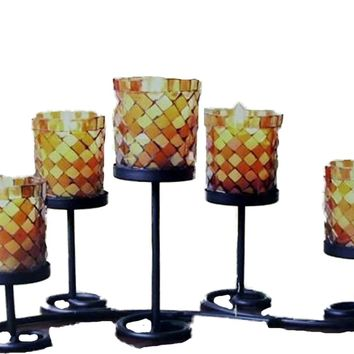 Mosaic Glass, Candle Holder Centerpiece -  4 Units