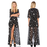 Black Sheer Stars Printed Tie-Waist Chiffon Assymetric Beach Dress