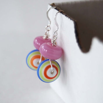 Pink Earrings, Colorful Earrings, Lampwork Glass Earrings, Beaded Earrings, Striped Earrings