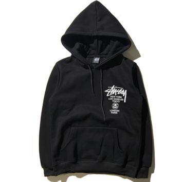 Autumn and winter new street tide STU printing English thickening Fleece Hooded Hooded sweater Men
