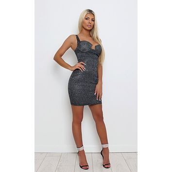 Seeing Sparks Black Glitter Spaghetti Strap Sleeveless Bustier Lurex Stretchy Bodycon Pencil Mini Dress
