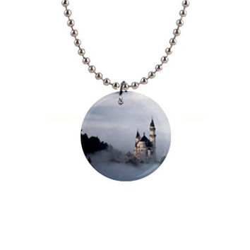 "Neuschwanstein Castle in the Fog - Germany 1"" Button Necklace"