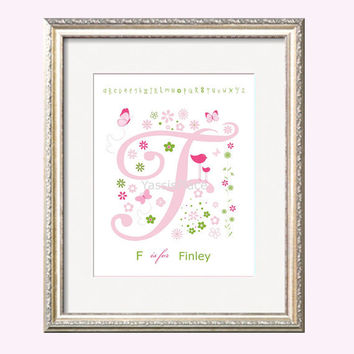 F Print Initial in Pink and Green 8x10 Monogram Letter bird butterfly flowers coordinates with Pottery Barn Girl Bedding