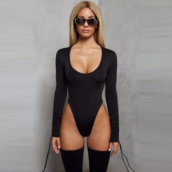 2019 New Long Sleeve Lace Up Sexy Bodycon Bodysuit Women O Neck Bandage Skinny Rompers Womens Jumpsuit Casual Party Overalls