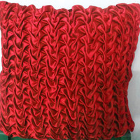 20x20 Decorative Red Satin Throw Pillows Cover with Canadian Smocking Accent Pillows Sofa Pillows Cushion Cover Home Décor