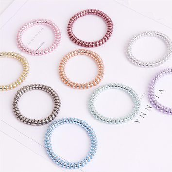 9Pcs/Lot Elastic Hairband Candy Color Telephone Line Base Metal Punk Hairline Hair Tie String Rubber Band Girls Female Headdress
