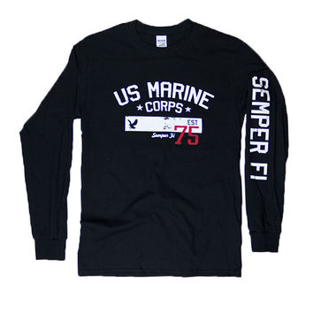 U.S. MARINES CORPS Est. 1775 Long Sleeve T-Shirt (black)