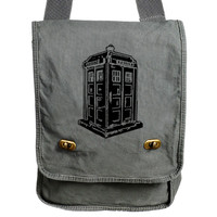 Doctor Who TARDIS Inspired Messenger Bag - Field Bag from Bag Habit Shoppe