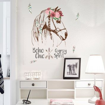 Horse Head Removable Wall Sticker PVC Wall Decals Animal Print Home Murals Decor