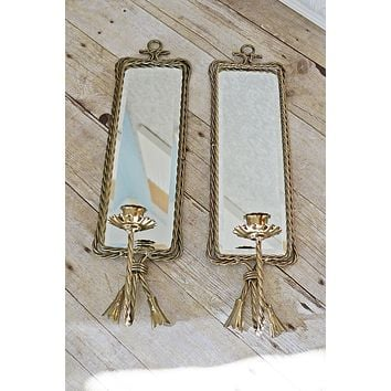 Vintage Bevel Mirror  Brass Wall Sconce Pair