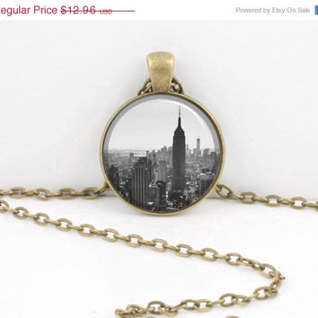 ON SALE New York Empire State Skyline Necklace Jewelry or Key Ring