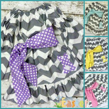 Girls Easter Dress, Gray Chevron Easter Dress with Your Choice of Sash & Bunny, Twins Easter Dress