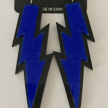 "4"" Royal Blue Lightning Bolt Earrings"