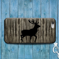 iPhone 4 4s 5 5s 5c 6 6s plus + iPod Touch 4th 5th 6th Gen Hunting Wood Cover Cute Deer Silhouette Custom Cool Black Grey Case Nature Gift